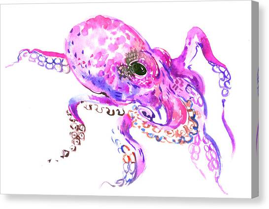 Octopus Canvas Print - Pink Purple Octopus by Suren Nersisyan