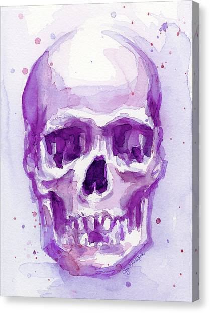 Skulls Canvas Print - Pink Purple Skull by Olga Shvartsur