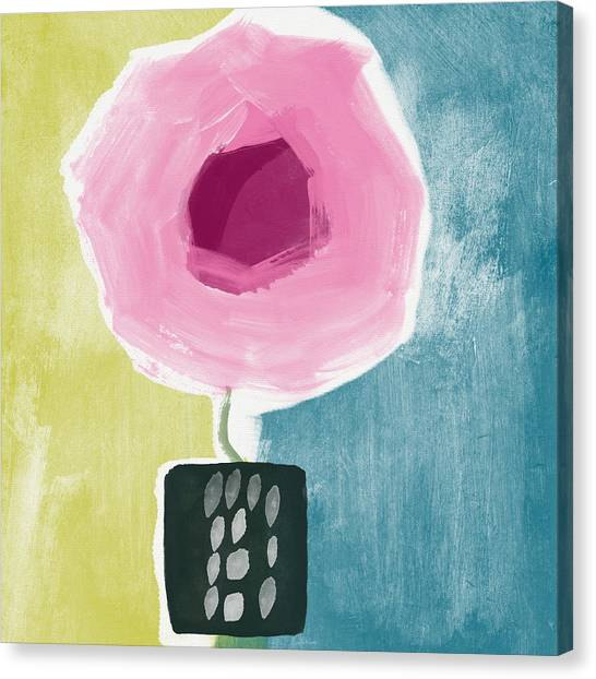Pretty Flowers Canvas Print - Pink Rose In A Small Vase- Art By Linda Woods by Linda Woods
