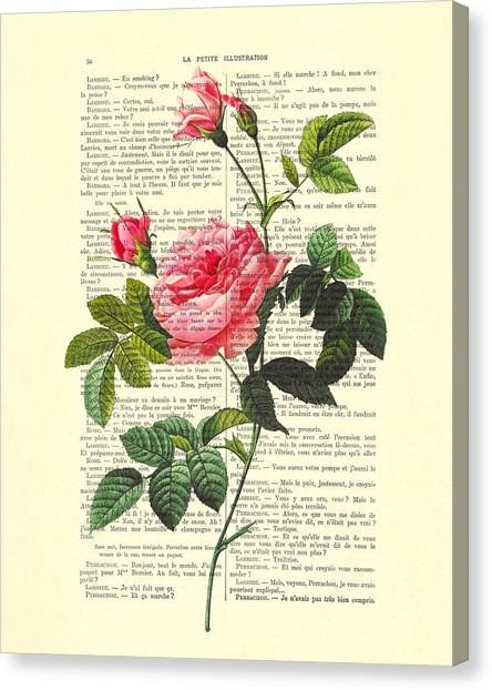 Wedding Gift Canvas Print - Pink Roses, Valentines Gift by Madame Memento