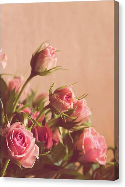 Wedding Day Canvas Print - Pink Roses by Wim Lanclus