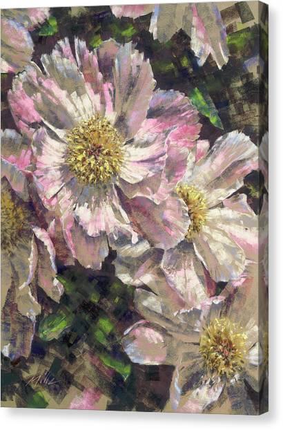 Pink Single Peonies Canvas Print