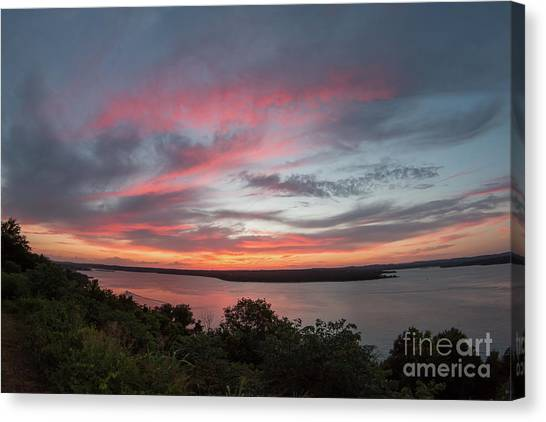 Pink Skies And Clouds At Sunset Over Lake Travis In Austin Texas Canvas Print