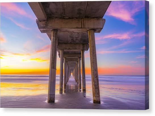 Scripps Pier Canvas Print - Pink Sky At Night, Photographers Delight by Peter Irwindale