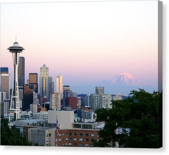 Pink Sky Over Mount Rainier Canvas Print by Sonja Anderson