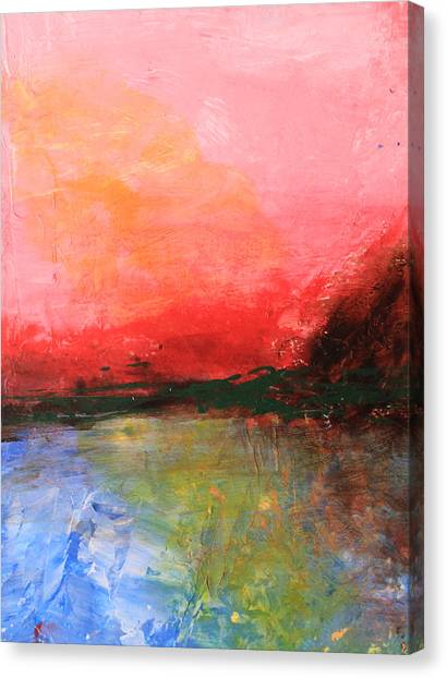 Pink Sky Over Water Abstract Canvas Print