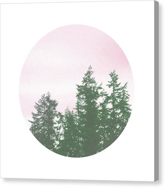 Pine Trees Canvas Print - Pink Sky Trees- Art By Linda Woods by Linda Woods