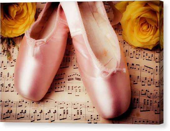 Ballet Shoes Canvas Print - Pink Slippers And Roses by Garry Gay