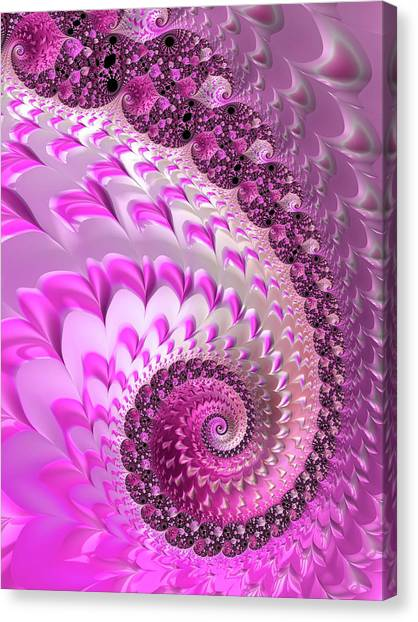 Pink Spiral With Lovely Hearts Canvas Print