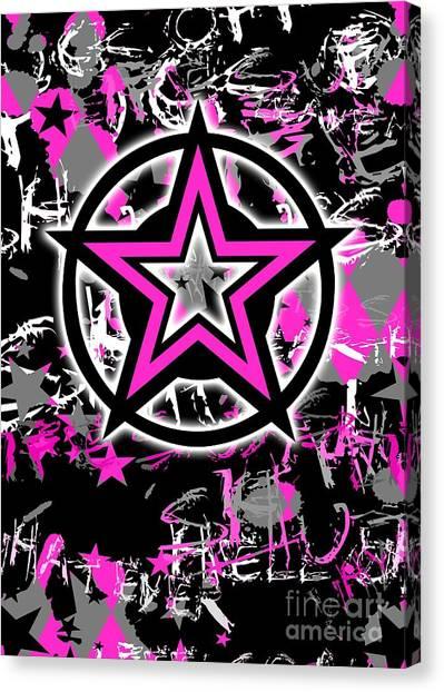 Pink Star Graphic Canvas Print