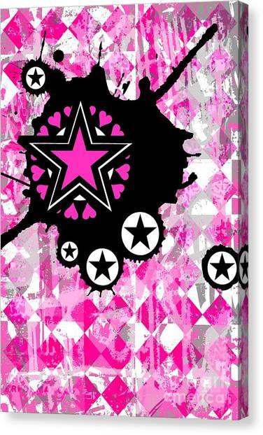 Pink Star Splatter Canvas Print