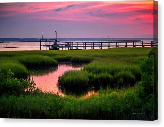 Pink Sunrise At Bogue Sound Canvas Print
