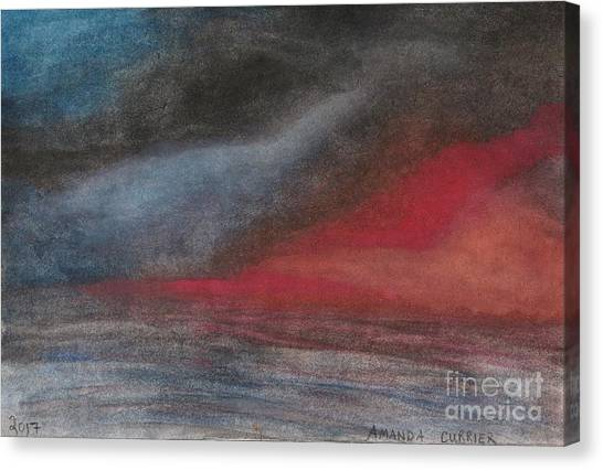 Pink Sunset Over Ocean Canvas Print by Amanda Currier