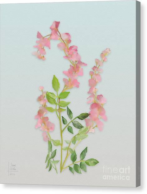 Canvas Print featuring the painting Pink Tiny Flowers by Ivana Westin