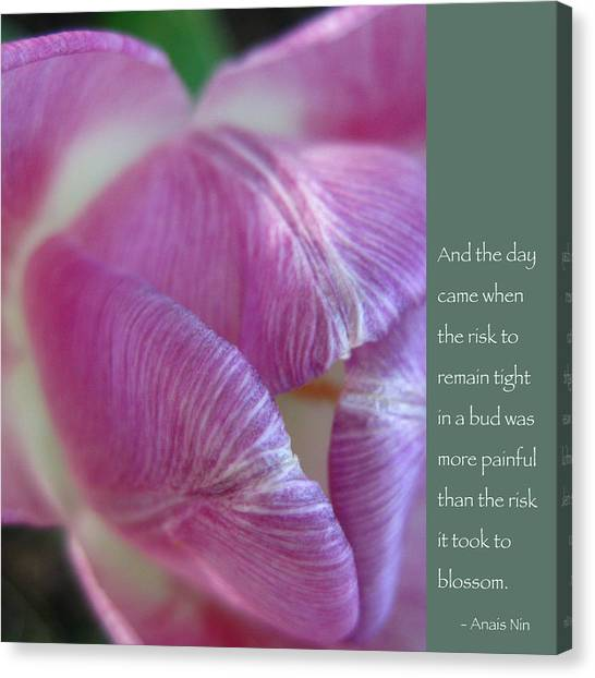 Pink Tulip With Anais Nin Quote Canvas Print