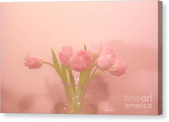 Pink Tulips On Pink Canvas Print by Marsha Heiken