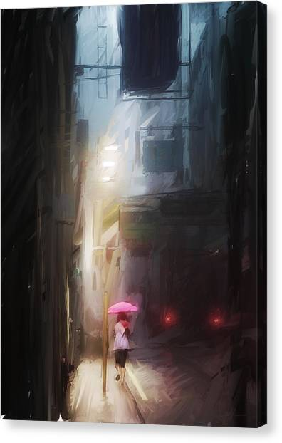 Hong Kong Canvas Print - Pink Umbrella by H James Hoff