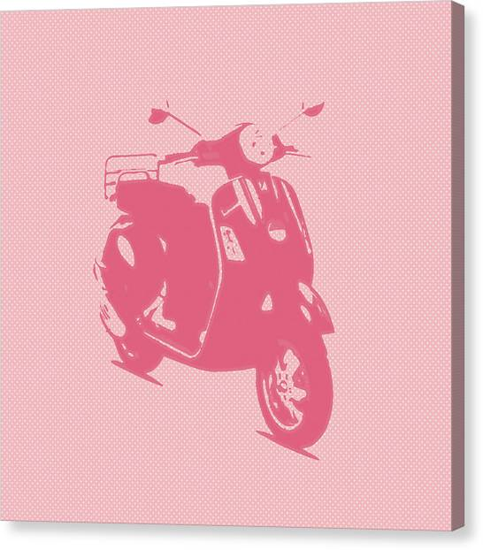 Pink Vespa Canvas Print by Denis Bouchard