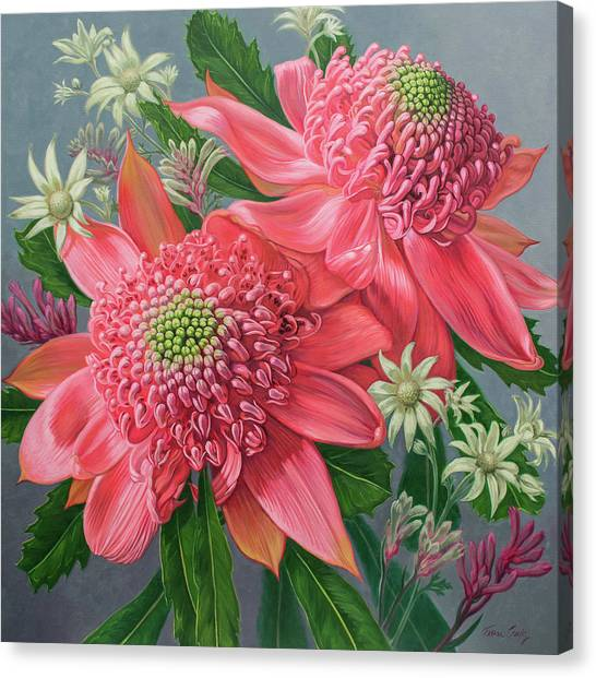 Flannel Canvas Print - Pink Waratahs, Flannel Flowers And Kangaroo Paws by Fiona Craig