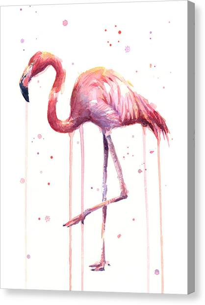 Tropical Birds Canvas Print - Pink Watercolor Flamingo by Olga Shvartsur