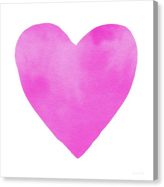 Pink Canvas Print - Pink Watercolor Heart- Art By Linda Woods by Linda Woods