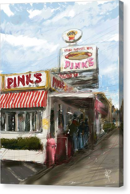 Hot Dogs Canvas Print - Pinks by Russell Pierce