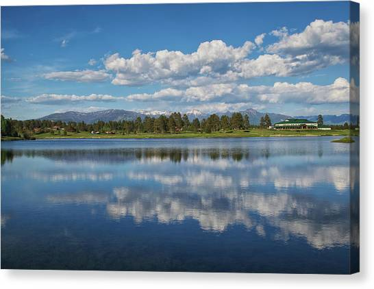Canvas Print featuring the photograph Pinon Lake Reflections by Jason Coward