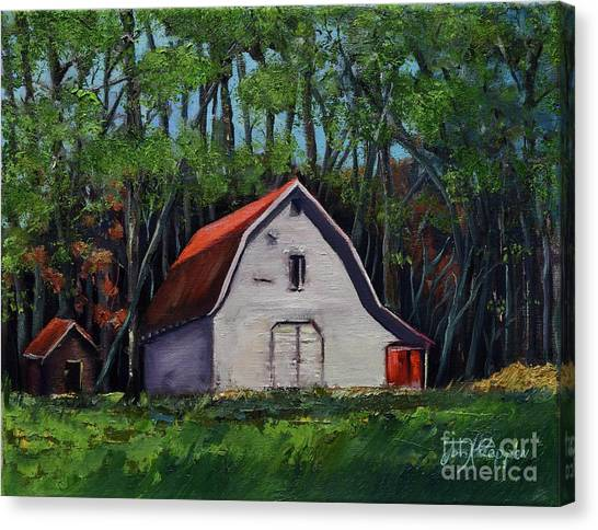 Canvas Print featuring the painting Pinson Barn At Harrison Park by Jan Dappen