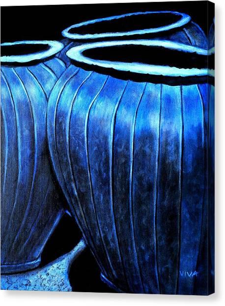 Pinstripe Pots Canvas Print