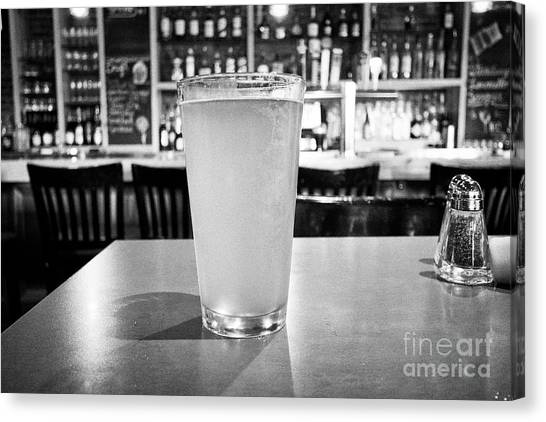 Craft Beer Canvas Print - pint of cloudy craft beer served in a pub in Boston USA by Joe Fox