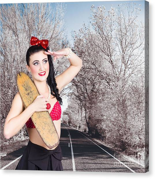Skateboarding Canvas Print - Pinup Skateboarder Woman In Punk Glam Fashion by Jorgo Photography - Wall Art Gallery