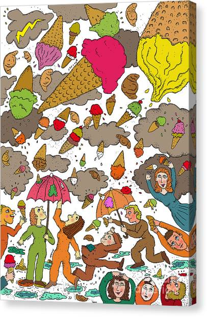 Fun Run Canvas Print - Piovono Gelati by Lara Artone
