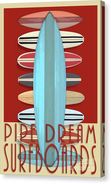 Canvas Print featuring the digital art Pipe Dream Surfboards 2 by Edward Fielding