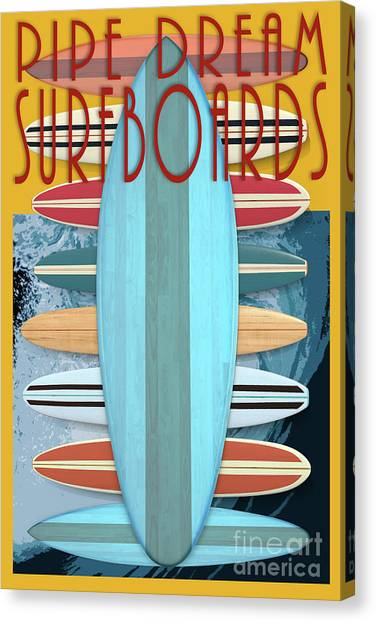Canvas Print featuring the digital art Pipe Dream Surfboards 4 by Edward Fielding