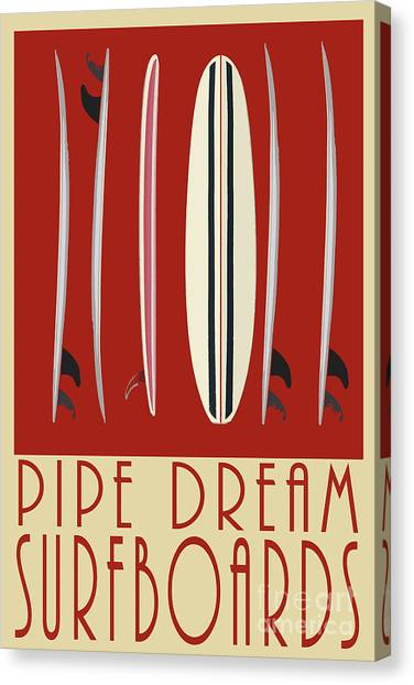 Canvas Print featuring the digital art Pipe Dream Surfboards by Edward Fielding