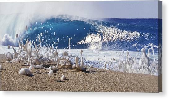 At The Beach Canvas Print - Pipe Foam by Sean Davey