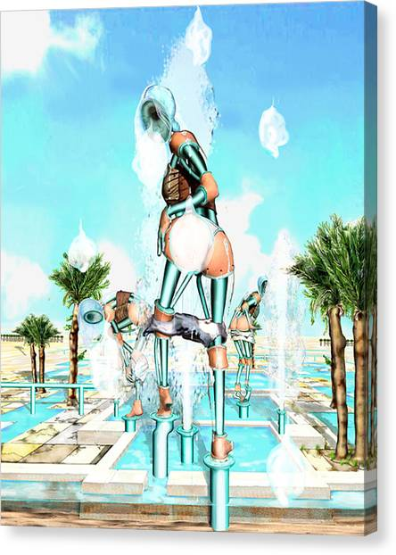 Pipe Human Figures Creating On Oasis Number Two Canvas Print by Leo Malboeuf