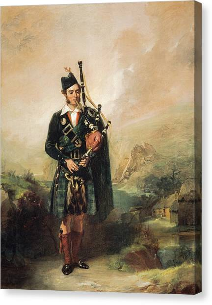 Bagpipes Canvas Print - Piper To Queen Victoria, 1843  by Alexander Johnston