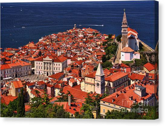 Piran From The Castle Wall Canvas Print