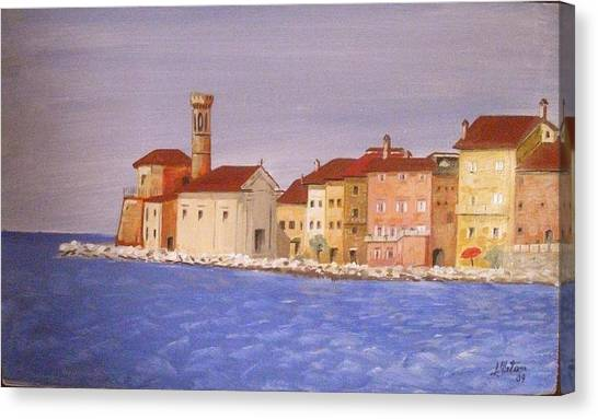 Piran The Lighthouse Canvas Print by Anthony Meton