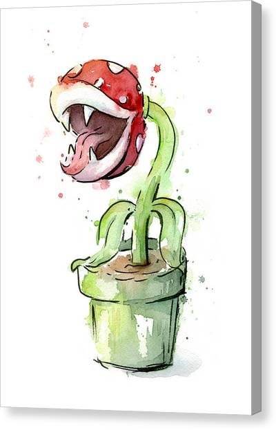 Gaming Consoles Canvas Print - Piranha Plant Watercolor by Olga Shvartsur