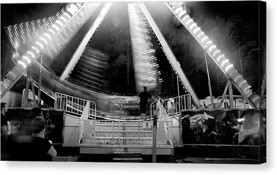 East Carolina University Ecu Canvas Print - Pirate Carnival Ride In Black And White by Matt Plyler