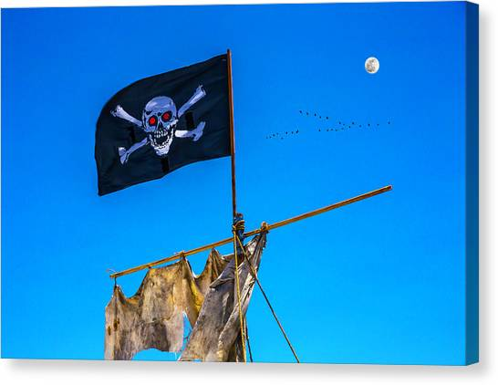 Sly Canvas Print - Pirate Flag And Moon by Garry Gay