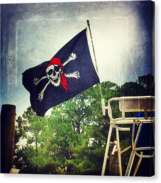 Harbors Canvas Print - Pirate Flag #boating #msgulfcoast by Joan McCool