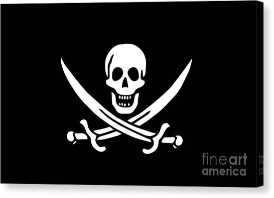 Skull Canvas Print - Pirate Flag Jolly Roger Of Calico Jack Rackham Tee by Edward Fielding
