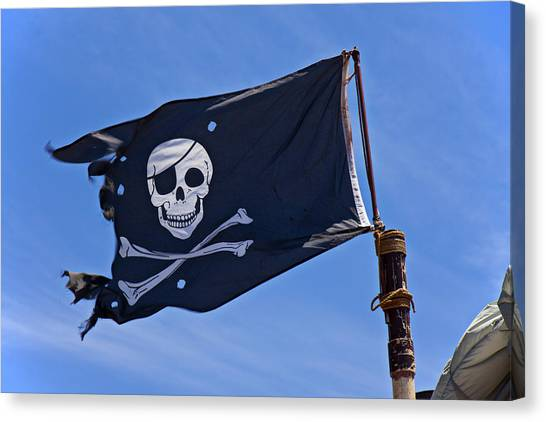 Sly Canvas Print - Pirate Flag Skull And Cross Bones by Garry Gay