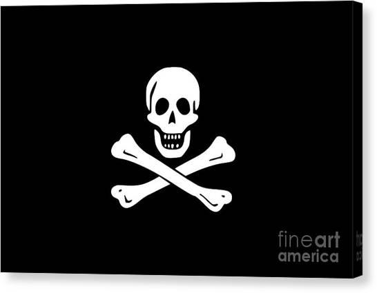 T-bone Canvas Print - Pirate Flag Tee by Edward Fielding