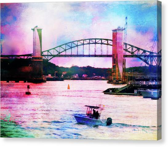 Piscataqua River Bridge From Harborwalk Park, Portsmouth New Hampshire Canvas Print