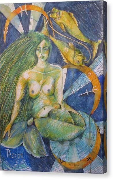 Fineart Canvas Print - Pisces by Brigitte Hintner