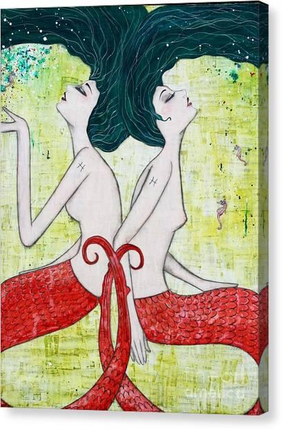Mermaids Canvas Print - Pisces Mermaids by Natalie Briney